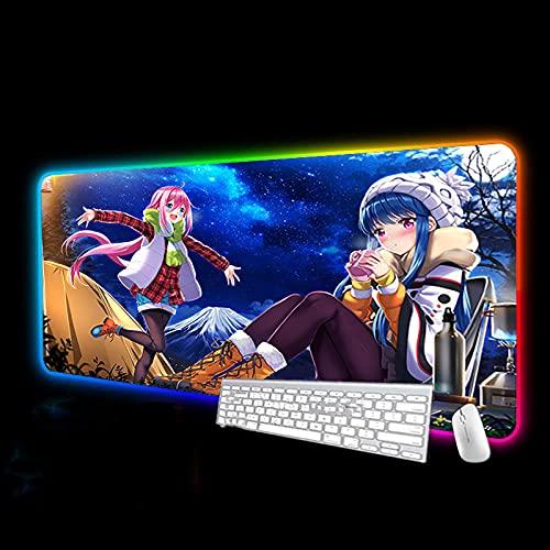 Alfombrilla de ratón Linda Chica Yuru Camp RGB Anime Alfombrilla de ratón Accesorios de Ordenador LED Brillante extendido Alfombrilla de ratón XXL para PC Gamer-600x300 MM Color B