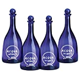 Set 4 pezzi Bottiglia in vetro per acqua solarizzata colore blu Naturale e Frizzante mod. ...
