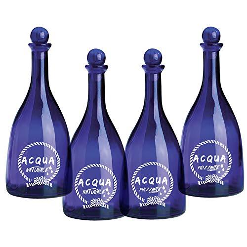 Set 4 pezzi Bottiglia in vetro per acqua solarizzata colore blu Naturale e Frizzante mod. Viola 750ml con tappo a sfera