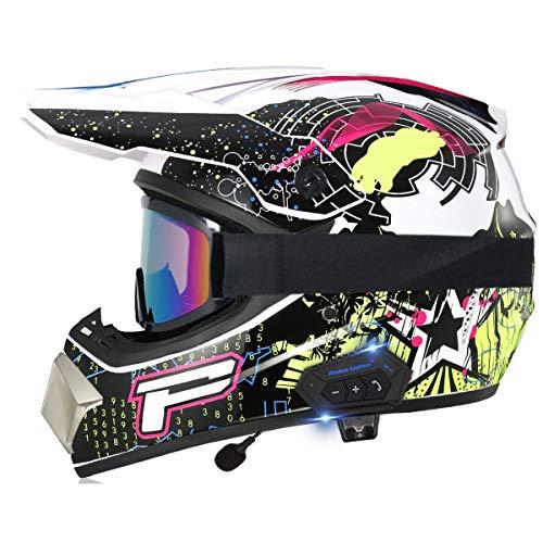 Casco de motocross Bluetooth aprobado por DOT Dirt Bike ATV Moto Motocicleta Ciclomotor Off Road Crash Cross Downhill DH Four Wheeler Cascos integrales con gafas Guantes Máscara 20,L=(59~60CM)