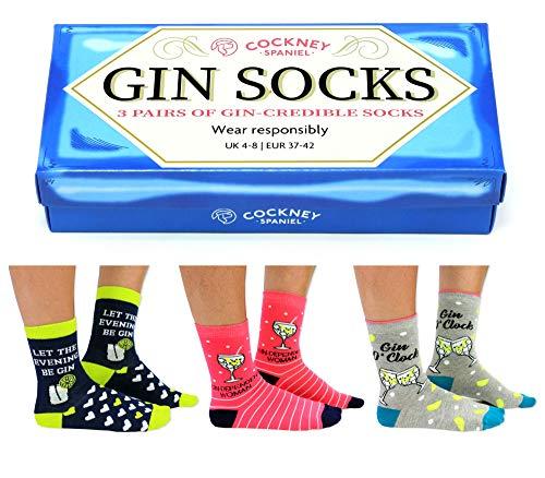 Cockney Spaniel Gin Tonic Socken mit Geschenkverpackung in 37-42 (3 Paar) - Strumpf