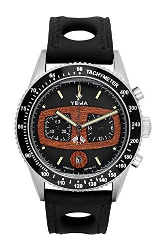 Armbanduhr Herren–Yema–RALLYGRAF–Leder Schwarz Perforiert–42mm–10bar–ymhf1483