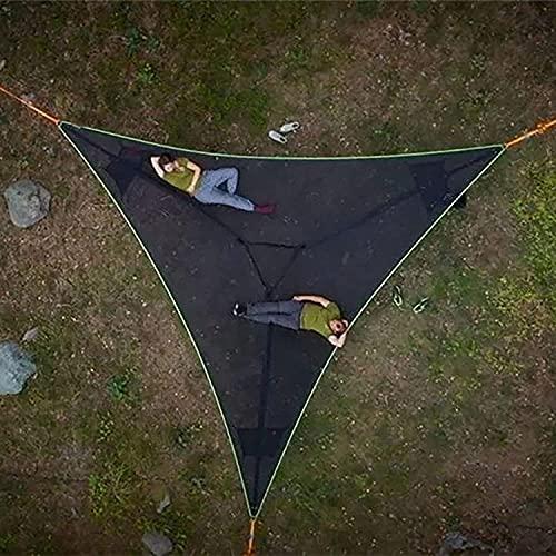 Hamaca gigante aérea de camping – Hamaca de árbol de la casa de aire Sky tienda de campaña, multipersona, hamaca portátil de 3 puntos para camping, viajes, patio, jardín (negro)