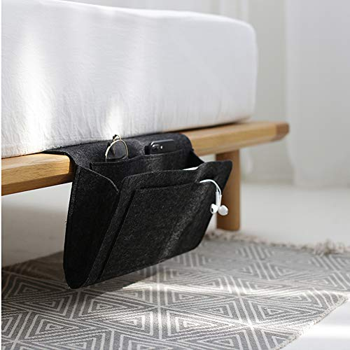 Enjoyfeel Aufbewahrungstasche für die Nacht, Soft-Filz-Bettaufhänger mit Tasche, praktische offene Tasche für Schlafzimmer, Wohnzimmer, Schlafsaal, Sofa, Schreibtisch (Black)