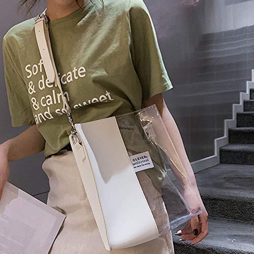 PCBDFQ damestas transparante handtas vrouwen waterdichte kunststof transparante strandtas PVC Jelly Bag contrasterende kleur tas handtas schoudertassen