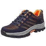 Calzado de Trabajo Hombre Mujer Zapatillas de Seguridad con Punta de Acero Calzado de Trabajo Antideslizante Comodo Azul Marino 36