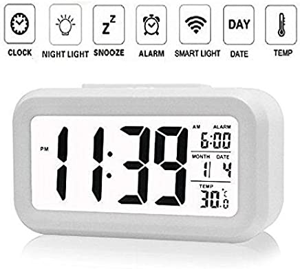 NEXUS Smart Digital Alarm Clock for Bedroom with Automatic Sensor Backlight,Date & Temperature (Black Or White)