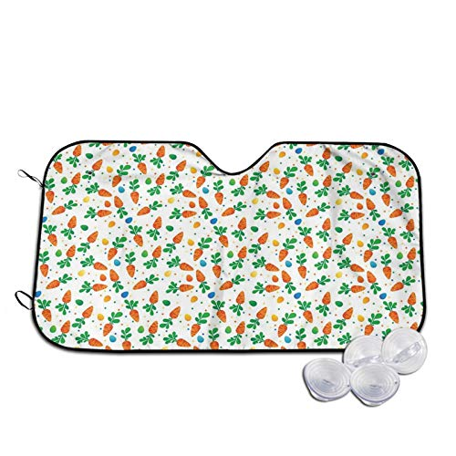 Windshield Sunshade for Car,Orange Carrots Colorful Eggs and Dots In Cartoon Style Fresh and Healthy Bunny Food,Front Window Sun Shade Visor Shield Cover,M