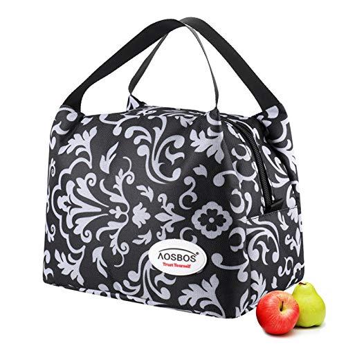 Aosbos - Lunch Bag noir avec motifs, 8,5L