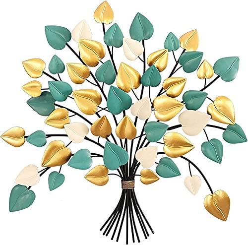 WQF Amor Colorido - Decoración de Arte de Pared de Hojas en Forma, Escultura de Pared de árbol de la Vida, Escultura de Pared Colgante de Metal Decoración para Sala de Estar Dormitorio