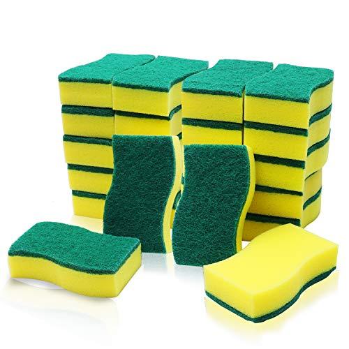 Estropajos Cocina (24 Pcs) - Esponja Limpieza (11x6cm) - Esponja Fregar Multipropósito Dos Lados para Lavar Platos, Eliminar Manchas en Cocinas & Baños
