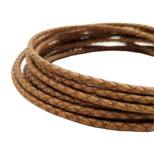 5 Yards 4mm Braided Leather Cords Round Leather Bolo Strap Distressed Tan