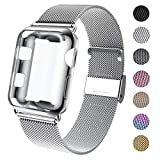 GBPOOT Compatible for Iwatch Watch Band 38mm 40mm 42mm 44mm with Screen Protector Case, Sports Wristband Strap Replacement Band with Protective Case for Iwatch Series 4/3/2/1,44mm,Silver
