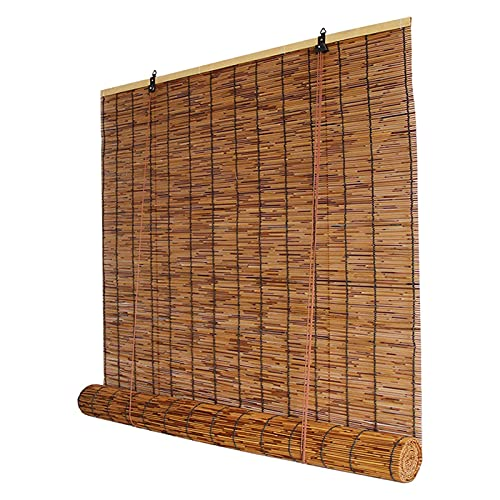 DBXOKK Natural Reed Curtain,Bamboo Roller Blinds Roman Blinds Louver Window Hand-Woven Sun Shade, Lifting Shutters, Retro Waterproof Engineering Curtain, Customizable(Size: 40x90cm/16x35in)