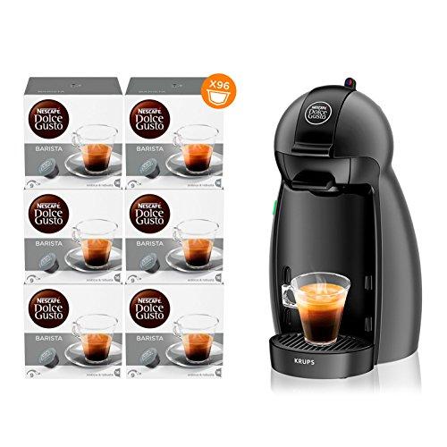 NESCAFÉ DOLCE GUSTO Piccolo EDG100.W Macchina per Caffè Espresso e altre bevande Manuale Antracite + NESCAFÉ DOLCE GUSTO BARISTA Caffè espresso 6 confezioni da 16 capsule (96 capsule)