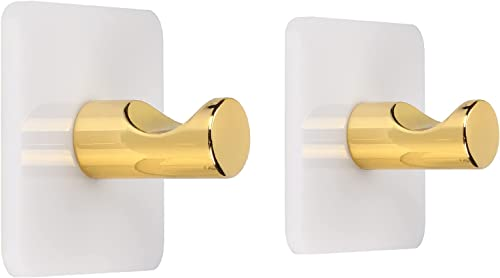 discount WORHE Self Adhesive Hook White Acrylic, Iron Finished Gold Pack online of 2 Sticky Hooks wholesale for Bath Towel Robe Hook, Heavy Duty Door Wall Hook for Bathroom Kitchen(WJ010) outlet sale