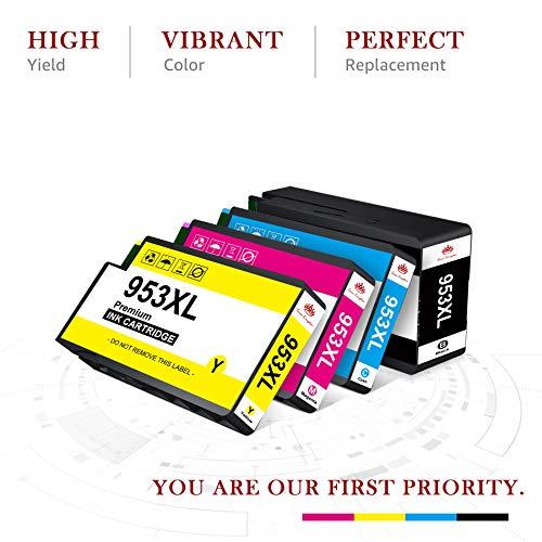 Toner Kingdom Cartucho de Tinta Compatible de Repuesto para HP 953XL para HP OfficeJet Pro 7720 7740 7730 8210 8218 8710 8720 8715 8718 8725 8728 8730 8740 (4 Paquetes)