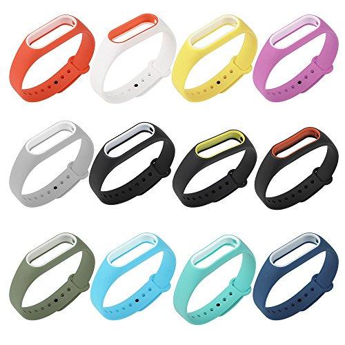 COOSA Correa de Recambio Brazalete Extensibles Coloridos Impermeables para reemplazo Pulsera XIAOMI Wireless Recambio para Pulsera Inteligente XIAOMI MI Band 2 (sin Rastreador de Actividad)