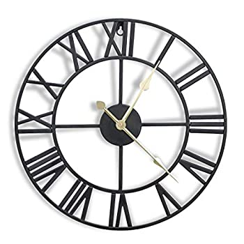 CIGERA 16 Inch Metal Wall Clock with 3D Roman Numerals Silent Movement and Battery Operated Great Wall Decor for Kitchen Living Room and Farmhouse Black
