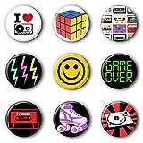 9 80er Jahre 80s Buttons Ansteckbuttons Buttonset Anstecker #2 (2,5cm) -