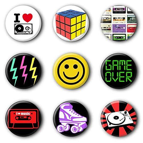 9 80er Jahre 80s Buttons Ansteckbuttons #2 (2,5cm)