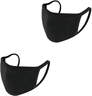 Face Mask Reusable Black Cotton Masks for Face Protection Cover Washable Dust Mask for Unisex Adult Teen Kids Travel Cycling,2 Pack