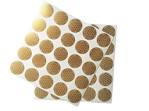 Pegatinas de la flor de la vida, color dorado, 2,5 cm de diámetro, 50 unidades