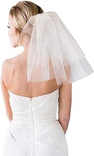 Casdre Wedding Veil 2 Tier White Shoulder Length Pearl Bridal Veil Cut Edge Veil with Comb for Brides