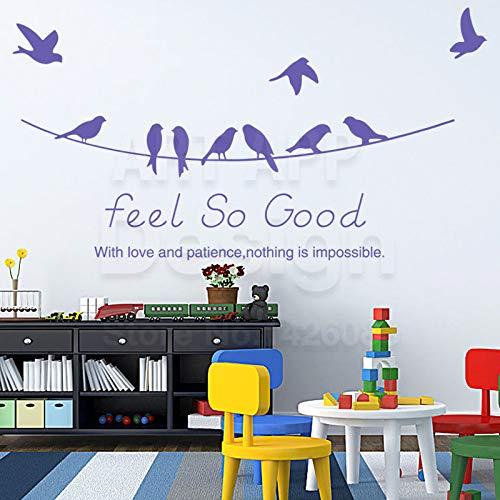 YuanMinglu Ethylen Hallo Wort wandaufkleber können entfernt Werden Haus Dekoration Tier Schlucken Vogel Aufkleber Zimmer lila 58 cm x 18 cm