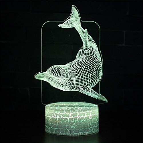 3D Light Dolphin Night Light 7 Color Table lamp USB Battery Wife Love Holiday Gift Romantic Table lamp Decorative lamp