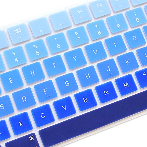 ProElife Ultra Thin Silicone Full Size Keyboard Cover Skin for 2017 2018 Apple iMac Magic Keyboard with Numeric Keypad MQ052LL/A A1843 US Layout (ITEM FOLDED IN PACKAGING) (Ombre Blue)