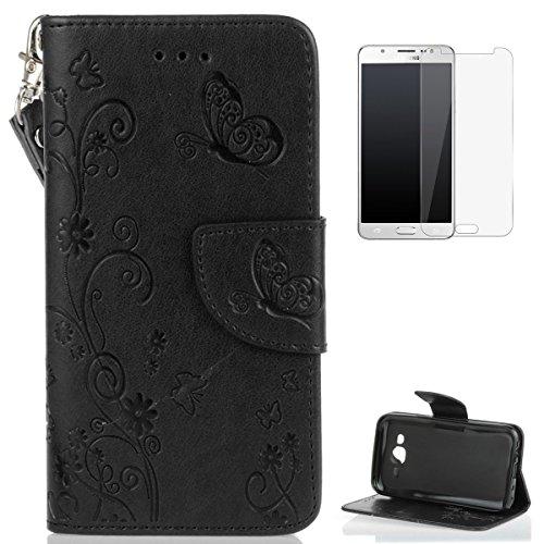 KaseHom Compatible for Samsung Galaxy J5 2015/J500FN Cassa del Raccoglitore Stile del Libro di Chiusura Magnetica Folio Flip Antiurto Basamento di Protezione PU Case Cover in Pelle Shell -Nero
