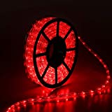 Buyagn 50Ft LED Rope Lights, Cuttable LED Strip Lights Outdoor Waterproof Decorative Lighting for Indoor/Outdoor Decorations,Eaves,Backyards Garden,Party and Bedroom Decorations(Red)
