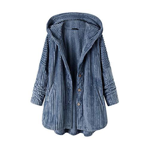 KissYou Frauen Winter Warme Outwear Blumendruck Kapuzen Taschen Vintage Übergroße Mäntel Sherpa Hoodie Fuzzy Fleece Jacke(#04,L)