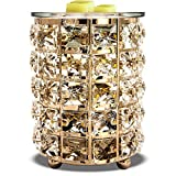 Wrought Iron Crystal Wax Melt Warmer Electric Oil Burner Wax Melt for Home, Kitchen, Living Room, Bedroom, SPA(Golden)