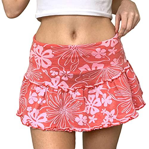Y2K Mini falda de cintura alta con estampado floral de malla de una línea de falda vintage E-Girl faldas cortas Streetwear, rosa, M