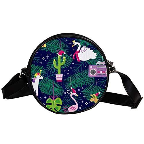 Petit sac à main rond - Sac à bandoulière tendance pour femme - Sac à bandoulière en toile - Accessoires pour femme - Chapeau de Noël, flamant rose, licorne, alpaga, cygne, jungle