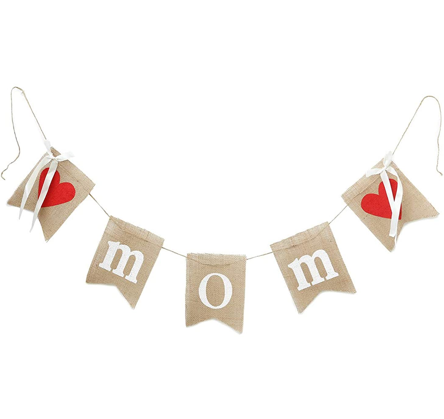 dealzEpic - Rustic MOM Burlap Banner with Red Hearts and Silk Ribbons for Mother-to-be / New Mom / Mom's Birthday Celebration Decoration or Photo Prop - 76 Inches