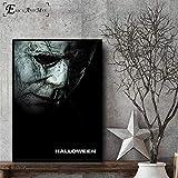ganlanshu Halloween Horror Lienzo impresión Pintura Moderna Cartel salón decoración Pared Arte Imagen,Pintura sin marco-50X75cm
