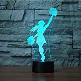 3D Novelty Cheerleader Night Light 7 Color Change LED Table Desk Lamp Acrylic Flat ABS Base USB Charger Home Decoration Toy Brithday Xmas Kid Children Gift