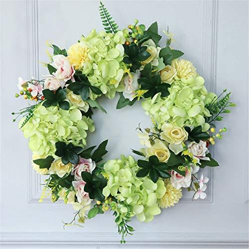 MOLINGXUAN Garland, Home Decoration, Artificial Hydrangea, Gardenia, Flower Ring, Day Wedding, Door Decoration, Wall Decoration (40 * 40CM),A