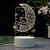 3D Nuit lumière LED stéréo Table Lampe Elk Tour Chambre Lune Nordique Dessin animé lumière créative Lune Ours 4