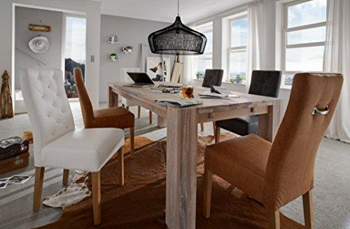SIT-Möbel Fausto Table en chêne Massif avec Coussin en buis Blanc délavé 200 x 100 x 77 cm