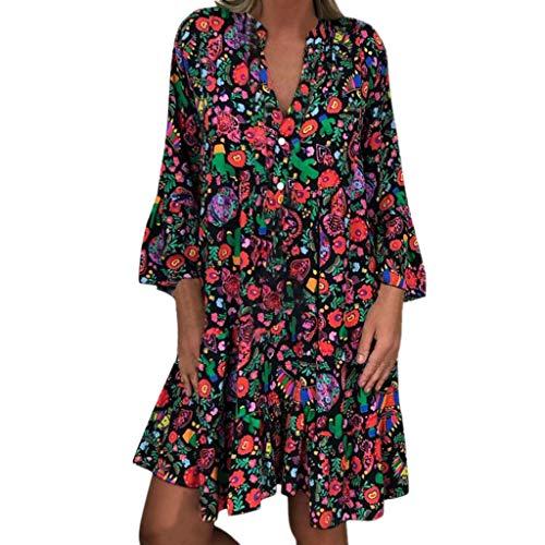LOPILY Frauen Große Größen Blumenmuster Kleider Boho Stil Übergröße Sommerkleider Blumendruck Knielang Kleid Kurzarm Kleid Tunika Swing Kleid (Mehrfarbig, 50)