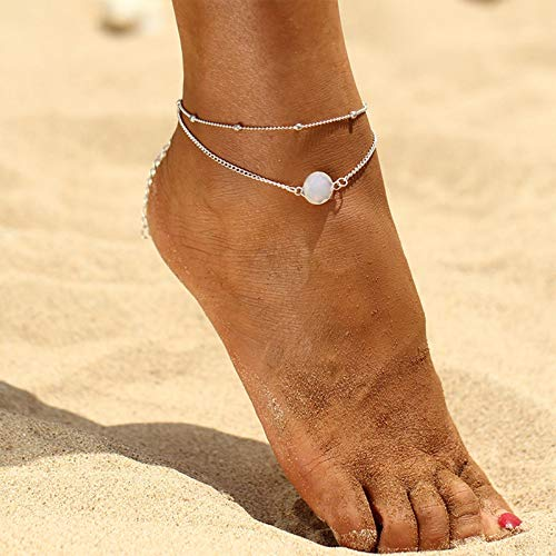 Yienate Boho Multilayer Crystal Charm Anklet Large Rhinestone Ankle Bead Chain Bracelet Summer Beach Bohemian Foot Chain Jewelry for Women and Girls (Gold)