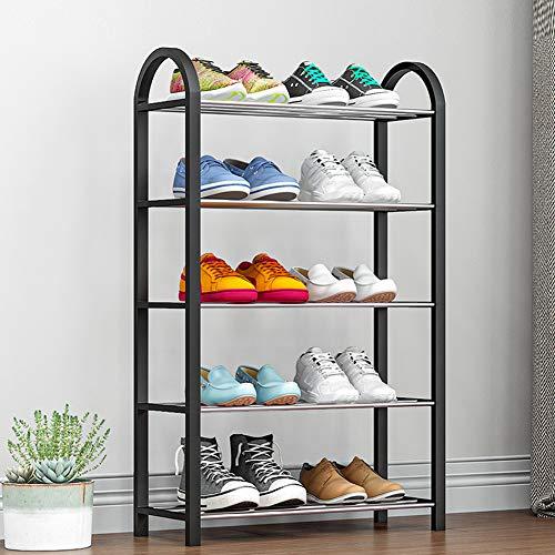 FZX514 Meuble À Chaussures 5 Niveaux, Étagère À Chaussures Empilable, 15-20 Paires, Rangement pour Baskets, Bottes, Sandales, en Métal, 42X19x71cm (L X L X H),Noir
