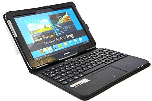 SonnyGoldTech für Samsung Galaxy Note 10.1 - Tasche mit Bluetooth Tastatur und integriertem Touchpad | Galaxy Note 10.1 LTE GT-N8020 Wi-Fi GT-N8010 GT-N8000 Hülle mit Tastatur, Deutsch QWERTZ