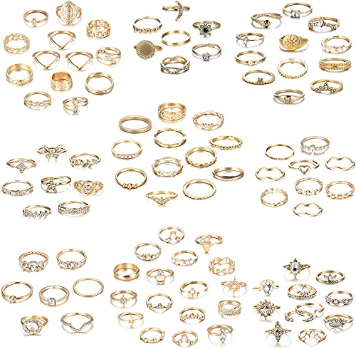 MILACOLATO 65-108PCS Boho Anillos para Nudillos para Mujer Anillos de Junta de Cristal Apilables Conjunto de Anillos de Oro Conjunto de Moda Anillos Midi para Nudillos para Mujer