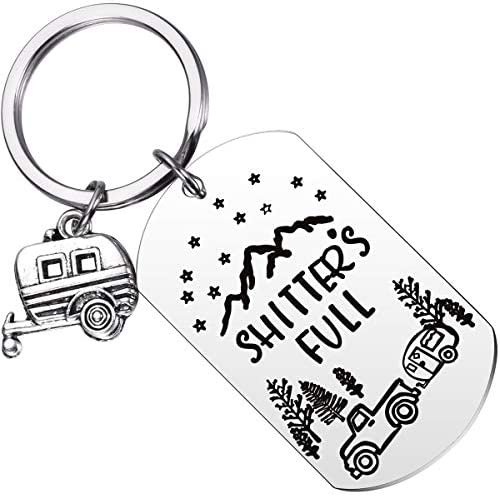 MIXJOY Shitter s Full Keychain RV Key Chain Happy Camper Camping Trailer Key Ring Retirement product image