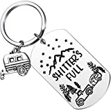 MIXJOY Shitter's Full Keychain RV Key Chain Happy Camper Camping Trailer Key Ring Retirement Gift for Vacation Travel Outdoors Mountains National Lampoons